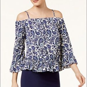Paisley Ruffle Cold Shoulder Blouse by ECI